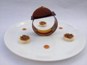 chocolade compositie van Valrhona chocolade Bye Traiteur AROMATE - Gardens of aromates - salle de fêtes feestzaal le grand salon - le palais de plume - the classic domaine - mariage communion