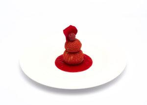 rode compositie van choux met rode vruchten Bye Traiteur AROMATE - Gardens of aromates - salle de fêtes feestzaal le grand salon - le palais de plume - the classic domaine - mariage communion